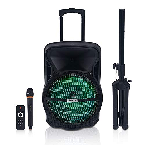(Sound Town 15-inch 2-Way Portable PA Speaker with Built-in Rechargeable Battery, 1 Wireless Mic, 1 Speaker Stand, Bluetooth, USB, SD Card Reader, LED Light)