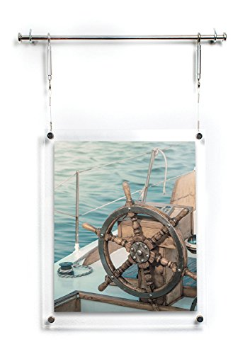 HIGHWIRE Picture Frame Display, Hanging / Wall Mounted Photo (8x10), Acrylic, Steel & Aluminum