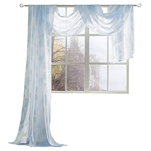 (KEQIAOSUOCAI Floral Embroidered Leaves Pattern Light Blue Window Sheer Scarf Valance for Living Room Semi Sheer Voile Drapes Panel for Bedroom 1 Panel Curtain,52