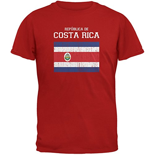 FIFA World Cup Distressed Flag Republica de Costa Rica Red Youth T-Shirt - Youth X-Large