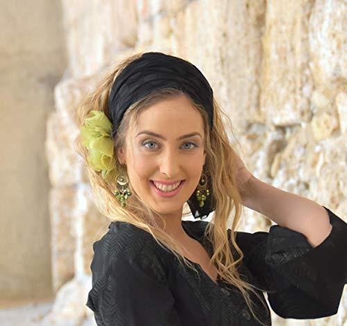 Chartreuse Blossom Headband, Bandana Tichel Hair Covering Headscarf One Size