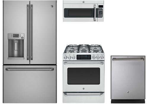 GE Cafe Stainless Steel Package with CYE22TSHSS 36″ French Door Refrigerator, CGS985SETSS30″ Electric Range, CDT835SSJSS 24″ Built In Dishwasher and CVM1790SSSS 30″ Microwave