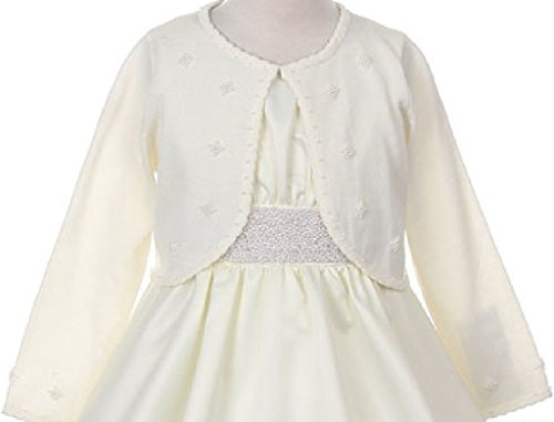 Little Girls Pearl Embellishments Flower Girls Knit Cotton Bolero
