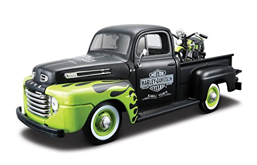 Harley-Davidson 1948 Ford F-1 Pickup Black with Green Flames + 1948 FL Panhead - 1:24 Scale