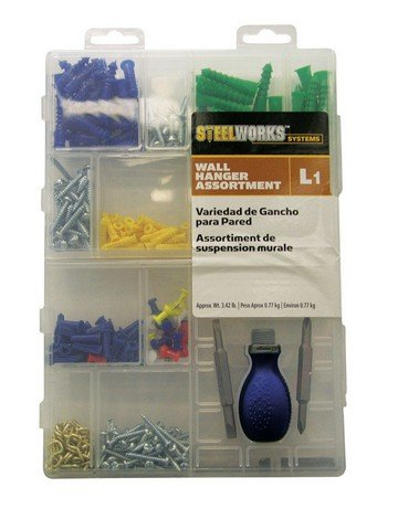 Boltmaster Wall Hanger Assortment Wood, Zinc Asst Colors 1-1/2'' Storage Case
