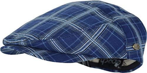 Men's Thick Cotton Summer Newsboy Cap SnapBrim Ivy Driving Stylish Hat (Navy Plaid-4021, S/M)