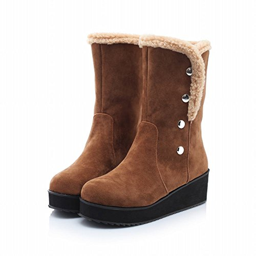 Carol Shoes Women's Elegant Buttons Platform Winter Mid-calf Snow Boots Brown 8J9JE8