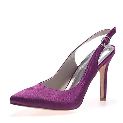 Di Scarpe Sposa L Large Purple E Tacchi Alti Comode 20 Nozze Abito Da Yards yc Donne Raso 0608 Sera Cqgxw1HR