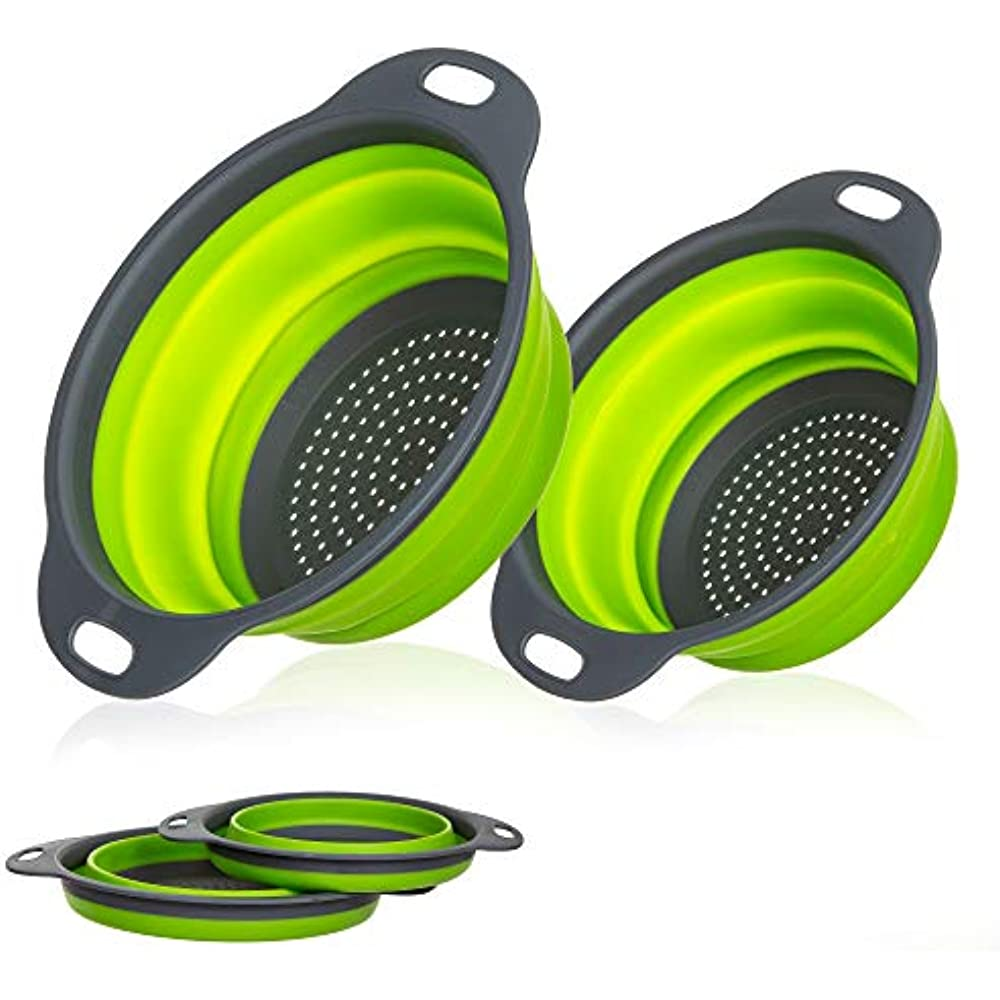 Details about Collapsible Colanders With Handles (2 Pc. Set) Round Kitchen  Sink Strainers Hot