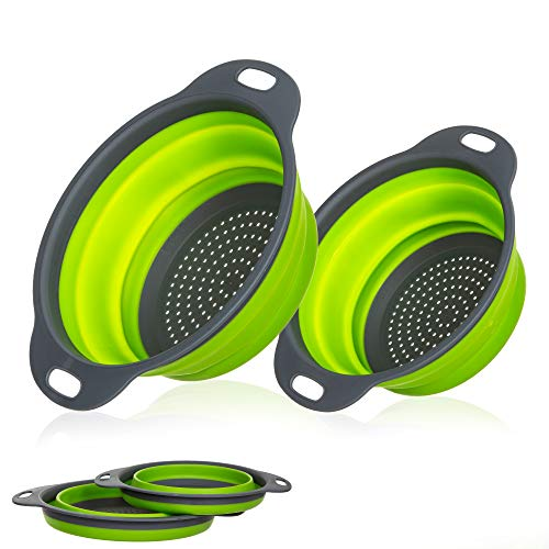 Miswaki Collapsible Colanders with Handles (2 Pc. Set) Round Kitchen Sink Strainers | Heat-Resistant Silicone | Stackable, Space-Saving Design | Pasta, Vegetables, Hot Water - Sink Round Kitchen Large