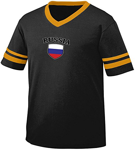 fan products of Russia Flag and Shield Men's Retro Soccer Ringer T-shirt, Amdesco, Black/Gold Large