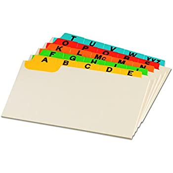 "Oxford Index Card Guides with Laminated Tabs, Alphabetical, A-Z, Assorted Colors, 3"" x 5"" Size, 25 Guides per Set (3514)"