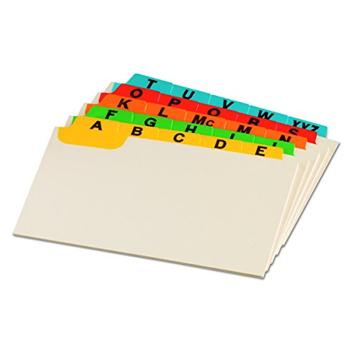 Oxford Index Card Guides with Laminated Tabs, Alphabetical, A-Z, Assorted Colors, 3