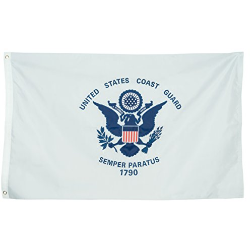 US Coast Guard Flag, Heavy Duty & Double-Sided | Embroidered for Inside/Outside Use | UV Protected, Long Lasting Nylon USA Coast Guard | Brass Grommets for Easy Display | USCG Flag, 3x5 foot
