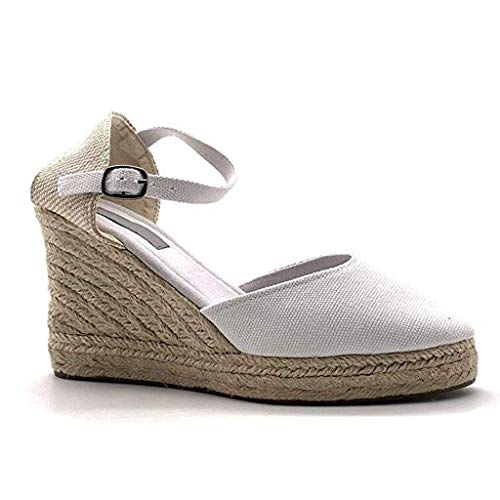 Wedge Shoes for Women, Huazi2 Canvas Thick Soled Ethnic Style Espadrilles Sandals White (Charles Barkley Shoes Red White And Blue)