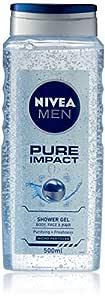 NIVEA MEN Pure Impact 3 in 1 Shower Gel & Body Wash for Body, Face & Hair 500ml