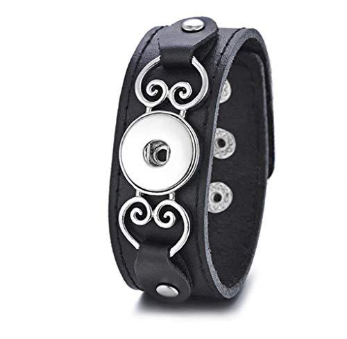 My Prime Gifts Snap Jewelry Black Leather Heart Bracelet Fits Standard Size -