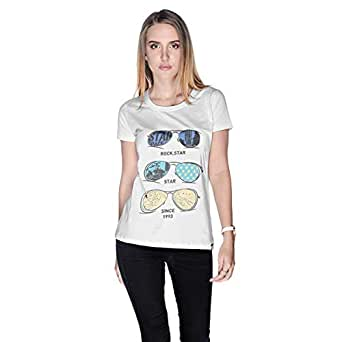 Creo Rock Star Glasses Beach T-Shirt For Women - M, White
