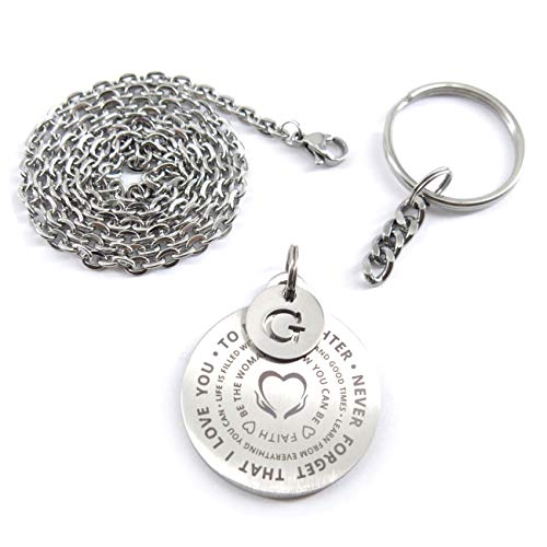 Boy Ring Key (Inspirational Gift to Daughter I Love You Stainless Steel Dog Tag Necklaces Keychain Set with Samll Alphabet Initial Disc G)