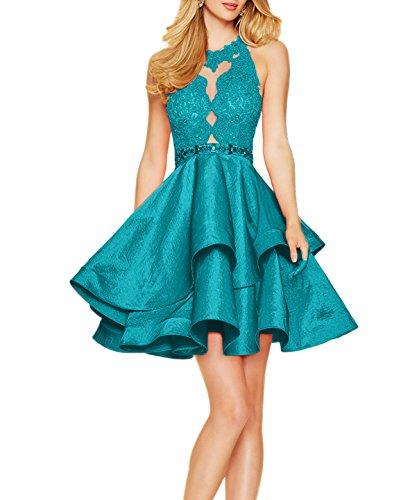 Ballkleid Kurz Damen Festliche Abendkleider Jugendweihe Spitze mit Charmant Kleider Blau Tuerkis Kleider Damen qUpw0