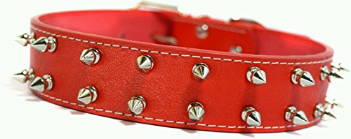 Sollar's Red Double Spiked PU Leather Dog Collar (Large) SET OF 4 PCS (B06XFTX6KC) Amazon Price History, Amazon Price Tracker