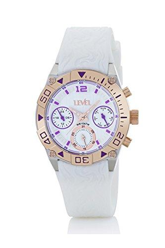 Reloj level Mujer, Caja acero Bisel en dorado, Multifunción, correa en Caucho Blanca