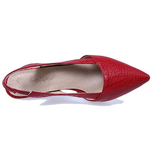 Femmes Slingback Moyen Compensees Rouge Pointue Sandales Mode TAOFFEN Chaussures Talons 1w0qdd6