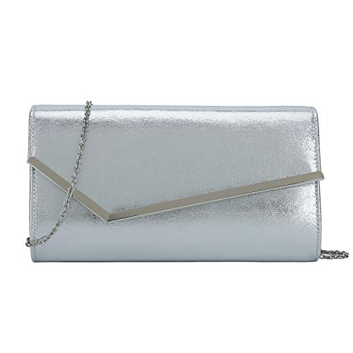 Charming Tailor Shimmering Metallic Clutch Purse Metal Accent Flap Evening Bag for Women (Silver)