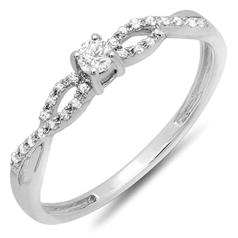 0.20 Carat (ctw) 10K White Gold Round Diamond Bridal Engagement Promise Ring (Size 5) (Promise Ring Size 5 White Gold)