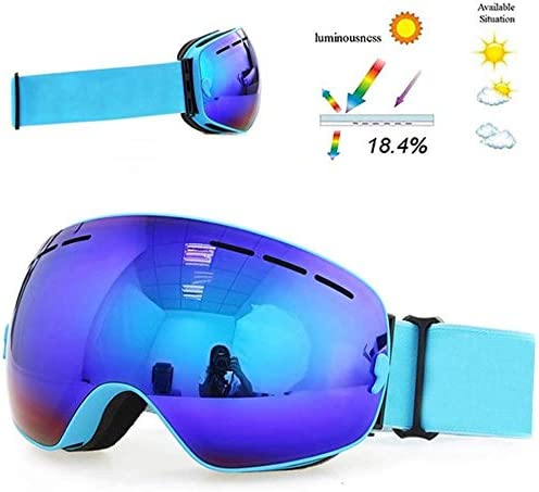 E ASPORT Ski & Snowboardbrillen, Skibrillen Helm kompatibel mit OTG Design Non-Rutsch Bügel UV400 Schutz, justierbarer Motorrad ATV Dirt Bike Goggles Schneebrille (Farbe   I)