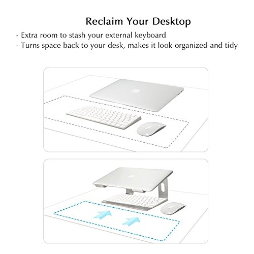 Laptop Stand Compatible for MacBook Pro/Air, Boyata Aluminum Stand Holder Ergonomic Ventilated Desktop Stand Design for All 10-17 Inch Apple Notebooks, Samsung, Acer, HP, Dell Laptop-Sliver Photo #4