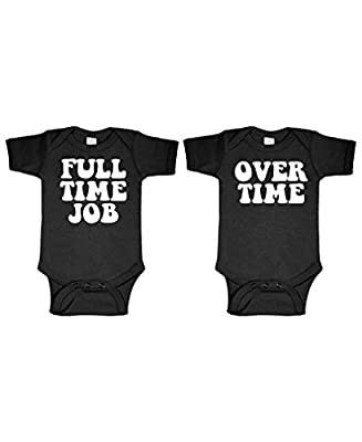 FULL TIME JOB - OVERTIME - twins funny - TWO Infant Bodysuit COMBO