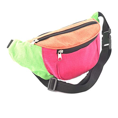 Allsorts Multi Coloured Neon Print Bum Bag / Fanny Pack - Festivals /Club Wear/ Holiday Wear