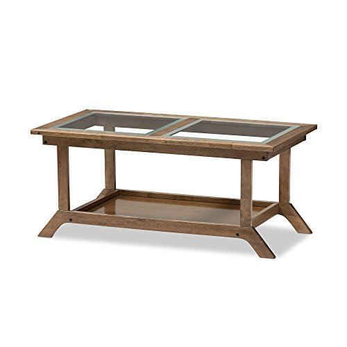 Baxton Studio Genie Mid-Century Modern Wood Living Room Glass-Top Coffee Table, Regular, (Wholesale Interiors Glass Coffee Table)