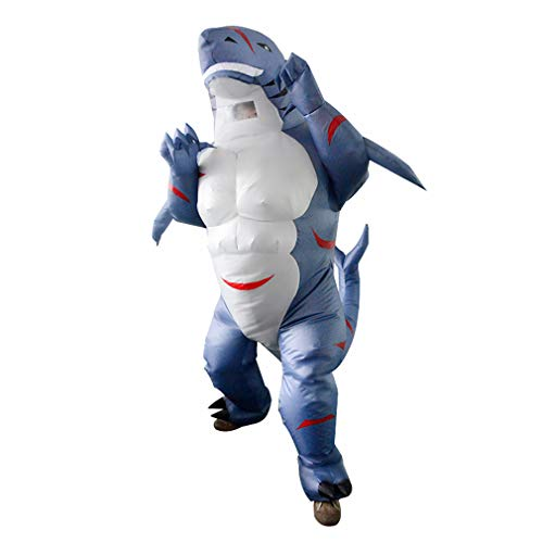SIREN SUE Halloween Inflatable Muscle Shark Costume Fancy Dress Cosplay Blow Up Full Body Suit Jumpsuit for Adult Blue]()