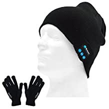 Unisex Music Sport Wireless Bluetooth Hands Free Phone Speaker Smart Knit Winter Hat Cap + Conductive Screen Touch Gloves for Cellphone Tablet Computer
