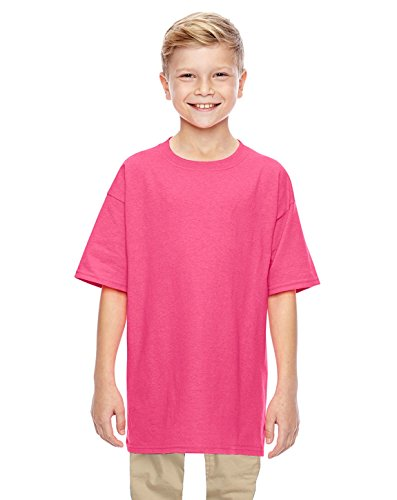 Gildan Heavy Cotton Youth 5.3 oz. T-Shirt, Large, SAFETY PINK ()