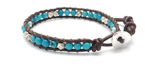 DEW Drops Reconstructed Turquoise and Silver beads Leather Wrap Bracelet, Single Wrap, 4mm/bead by DEW Drops