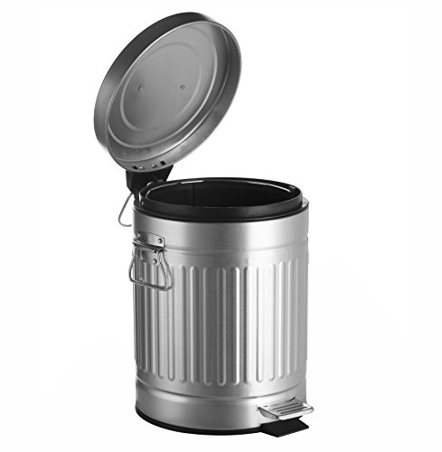 AMG and Enchante Accessories, Round Waste Bin, 5L Garbage Trash Can with Step Foot Pedal, WB07V GAL, Galvanized Steel