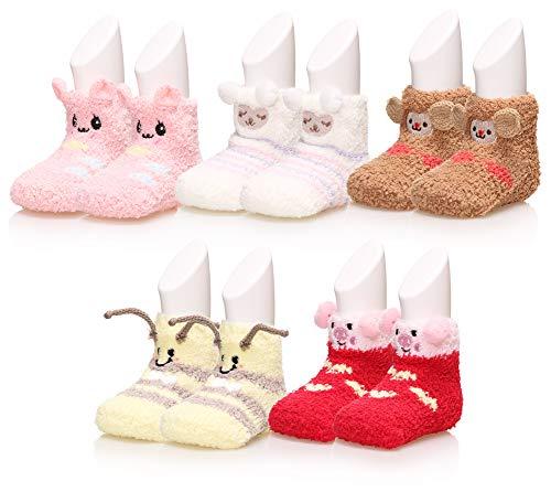 Baby Boy Girls Soft Fuzzy Slipper Socks Non-Slip Cozy Winter Fluffy Warm Kids Toddler Socks 5 Pairs (Color B, 1-3 Year)