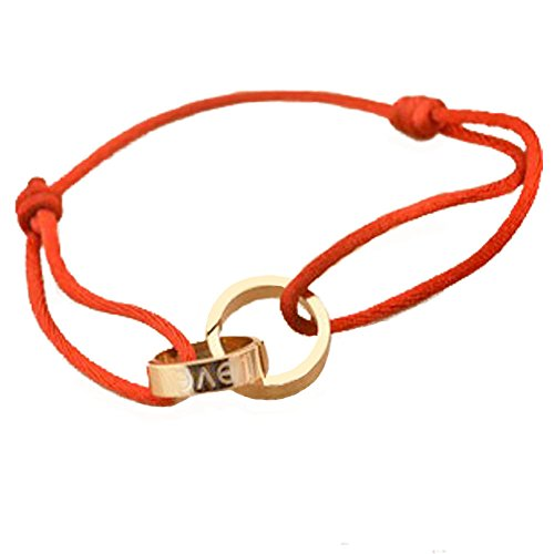 Baoli Titanium Steel Handmade Red String Rose Gold Love Loop Braid Rope Bracelet Adjustable (Red)