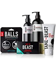Best of Beast Skin Care Products Set - All-in-1 Hair & Body Wash, Hand & Body Lotion, Yawp Exfoliating Face Wash, Deodorizing Shoe Balls, and Lava Rock or Natural Smooth Bar Soap (Get Rough)