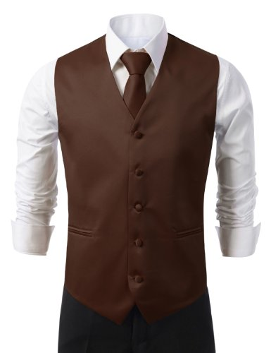 IDARBI for MEN 3 Pieces Set Solid Formal Tuxedo Vest Set / (Mens Brown Sharkskin)