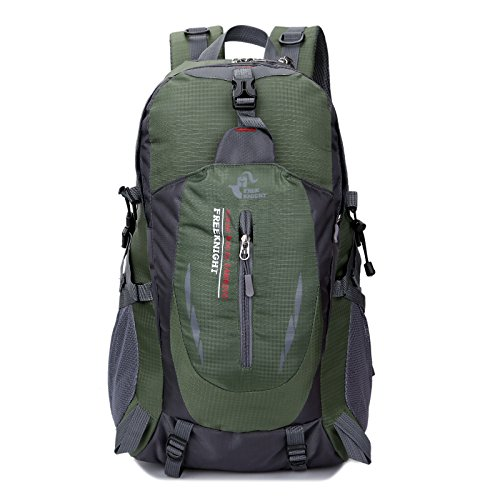 Free Knight 40L Waterproof Mountaineering Outdoor Travel Backpack(Army Green) by Free Knight