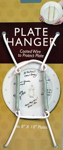 Decorative Plate Display Hanger Expandable Holds 8 to 10 Inch Plates-white Coated Wire -Pack of 6 Hangers