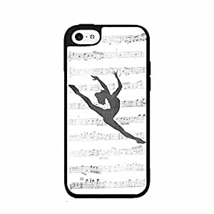 Cute painting Dancer on Music Notes Plastic Phone Case Back Cover iPhone 5 5s BY EPPOR