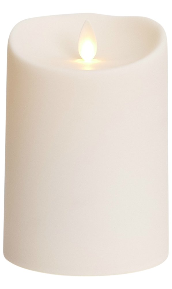 Luminara Outdoor Flameless Candle: Plastic Finish, Unscented Moving Flame Candle with Timer (5'' Ivory)
