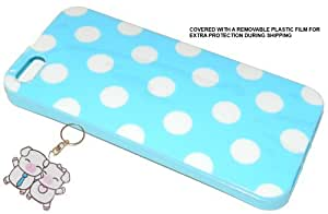 IPHONE 5 BABY BLUE POLKA DOT TPU PROTECTOR CASE + PERFECT PAIR PIGLETS KEYCHAIN