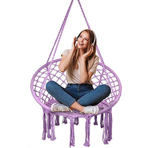 SHOWPIN Hammock Chair Macrame Swing 330 Pound Capacity Handmade Hanging Swing Chair Prefect