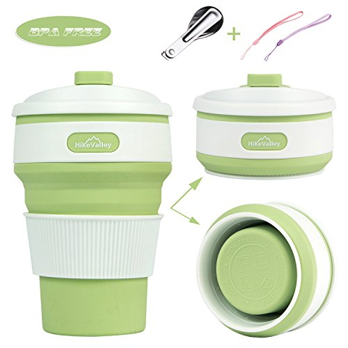 Collapsible Silicone Coffee Cup, HikeValley Foldable Travel Mug 12oz BPA FREE Food - Grade Lighweight Cup for Outdoor Camping Hiking Picnic (Light Green)